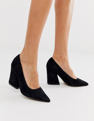 Asos DESIGN Sorry Not Sorry block heeled court shoes in black suede
