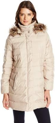 Fleet Street Ltd. Women's Classic Down Coat with Faux Fur Hood
