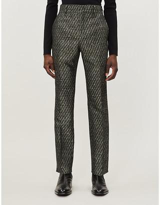 Fendi Metallic jacquard-pattern tapered wool-blend trousers