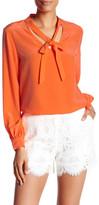 Trina Turk V-Neck Front Tie Silk Blouse