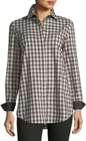 Lafayette 148 New York Brody Long-Sleeve Check Blouse