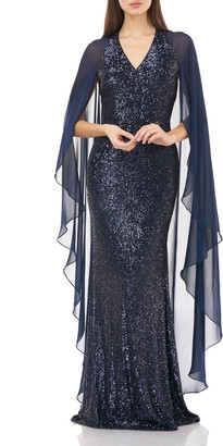 Carmen Marc Valvo V-Neck Sequin Gown with Chiffon Sleeves & Cape