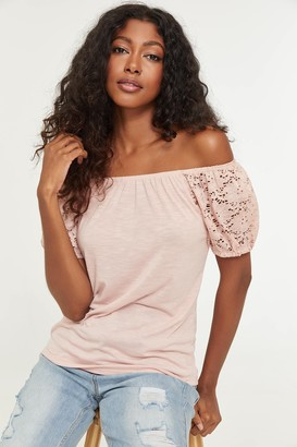 Ardene Off Shoulder Top with Lace Sleeves
