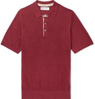 Brunello Cucinelli Slim-Fit Knitted Melange Linen and Cotton-Blend Polo Shirt - Men