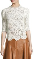 Rebecca Taylor Arella Lace Mock-Neck 3/4-Sleeve Top, White