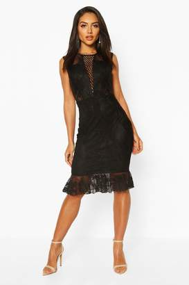 boohoo Lace Crochet Panel Frill Hem Midi Dress