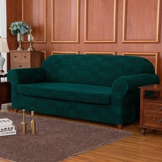Overstock Subrtex 2-Piece Stretch Sofa Slipcovers Jacquard Knit Furniture Cover