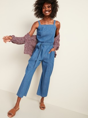 Old Navy Sleeveless Tie-Belt Utility Jean Jumpsuit for Women