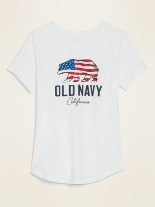 Old Navy EveryWear Logo-Graphic Curved-Hem Tee for Women