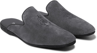 Paul Stuart Hamilton Logo-Embroidered Suede Slippers - Men - Gray