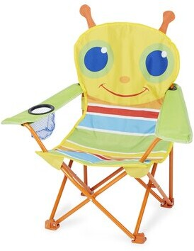 """Melissa & Doug Happy Giddy Kids Chair with Cup Holder Size: 24"""" H x 7"""" W x 7"""" D, Color: Blue/Red/Yellow"""