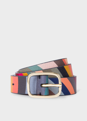 Paul Smith Women's 'Swirl' Print Leather Gold Buckle Belt