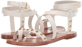Tory Burch Ravello Studded Ankle-Wrap Sandal (Perfect Ivory) Women's Shoes