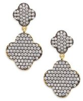 Freida Rothman Sterling Silver and 14K Gold Vermeil Double Pave Clover Earrings