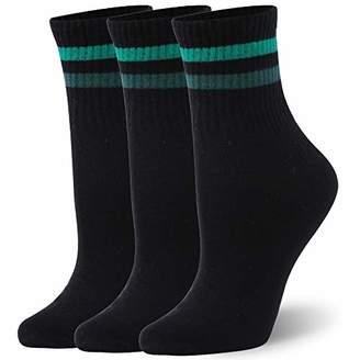 WXXM Women Dress Socks Stripe Thin Ankle Cotton Casual Socks 3 Pairs XL