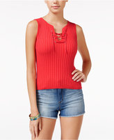 American Rag Lace-Front Rib-Knit Tank Top, Only at Macy's