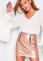 Missy Empire Meghan Metallic Rose Faux Leather Mini Skirt
