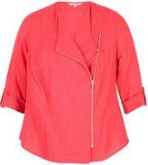 Chesca Tab Trim Pinstripe Linen Zip Jacket