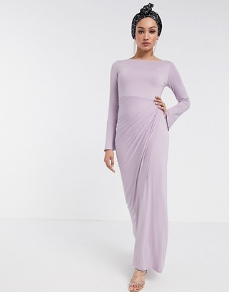 Verona maxi dress with draped wrap front