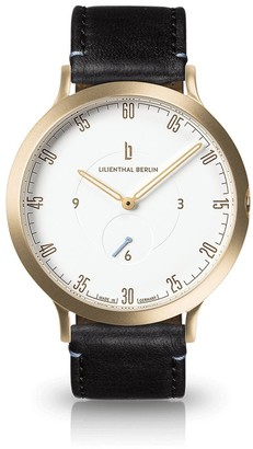 Lilienthal Berlin Watch - Made in Germany - Designed in Berlin. Model L1 with Stainless Steel Case (Case: Gold/Dial: White/Bracelet: Black Size: 37 5 mm)