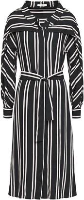 Maje Raji Belted Striped Twill Midi Dress