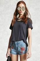 Forever 21 Embroidered Floral Denim Shorts