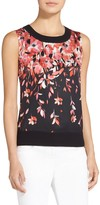 St. John Black Flamingo Degrade Floral Print Shell