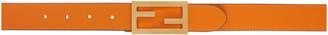Fendi Reversible Beige and Orange Leather FF Belt