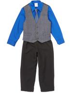 Perry Ellis Academy Blue Plaid Vest Set - Toddler