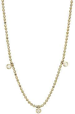 Ef Collection Women's 14K Yellow Gold & Triple Diamond Faceted Chain Necklace
