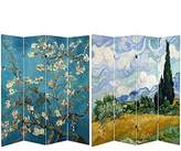 Oriental Furniture Double Sided Works of Van Gogh Canvas Room Divider, 6-Feet Tall, Almond Blossoms/Wheat Field