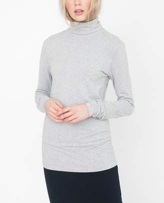 Beaumont Organic Light Grey Tricia Modal And Cashmere Roll Neck Top - Light Grey / Large - Grey