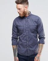 Wrangler Slim Western Shirt In Lightweight Iron Grey