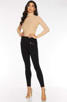 Quiz Black Fleece Lined Zip Detail Leggings