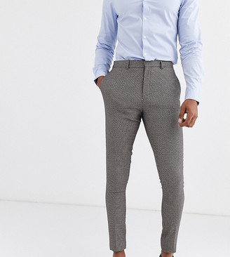 ASOS DESIGN Tall wedding super skinny suit trousers in micro texture in tan
