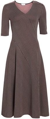 Rosetta Getty Plaid Panel Midi Dress