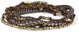 Chan Luu Silver-Tone Beaded Chain-Trimmed Leather Bracelet