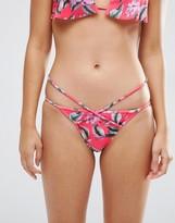 Asos Hawaii Print Double Strap Tanga Bikini Bottom
