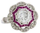 Ring Platinum Ruby & Diamond Art Deco