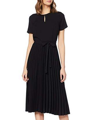 Dorothy Perkins Women's Short Sleeve Pleated Skirt Dress Black 010, 6 (Size:6)