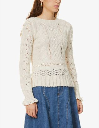 See by Chloe Broderie-embroidered alpaca-blend jumper