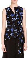 Proenza Schouler Sleeveless Floral-Print Wrap Blouse, Black/Cobalt Flower