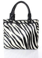 Club Monaco White Black Calf Hair Animal Print Tote Handbag