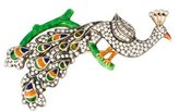 18K Diamond & Enamel Peacock Brooch