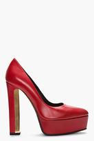 Saint Laurent Red & gold Ziggy Platform heels