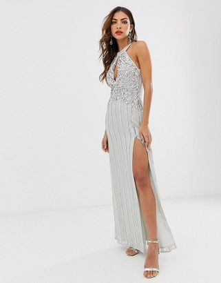 Frock and Frill high embellished sleeveless maxi dress-Grey