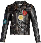 Saint Laurent Badge-appliqué leather biker jacket
