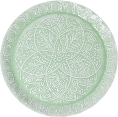 Thumbnail for your product : Rice Medium Round Enamel Tray Sage Green