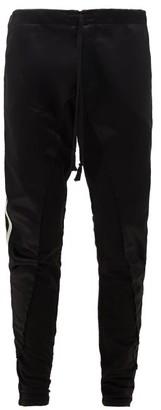 Greg Lauren Side-stripe Jersey And Satin Track Pants - Mens - Black