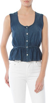 Frame Sleeveless Denim Peplum Blouse